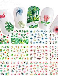 baratos -12 pcs Adesivos arte de unha Manicure e pedicure Colorido Decalques de unha Casamento / Festa / Dia a Dia