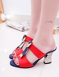 preiswerte -Damen Schuhe Leder Sommer Komfort Sandalen Blockabsatz Schwarz / Rot