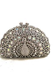 baratos -Mulheres Bolsas Strass Bolsa de Festa Detalhes em Cristal Prata