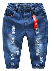 preiswerte -Kinder Jungen Grundlegend Solide Loch Baumwolle Jeans