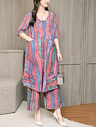 Недорогие -Жен. На выход / Офис Блуза Брюки Контрастных цветов V-образный вырез