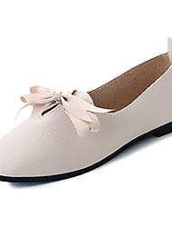baratos -Mulheres Sapatos Couro Ecológico Primavera Verão Conforto Mocassins e Slip-Ons Salto Baixo Ponta quadrada Preto / Bege / Castanho Escuro