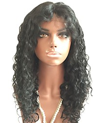 cheap -Remy Human Hair Lace Front Wig Brazilian Hair Curly Wig Layered Haircut 150% With Baby Hair / Natural Hairline Black Women's Short / Long / Mid Length Human Hair Lace Wig