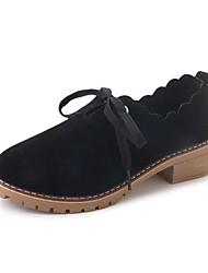 povoljno -Žene Cipele PU Zima Udobne cipele Oksfordice Kockasta potpetica Crn / Braon / Zelen