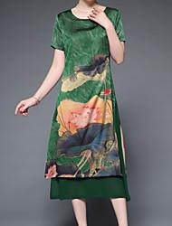 levne -Dámské Základní Pouzdro Šaty - Jednobarevné / Květinový Midi