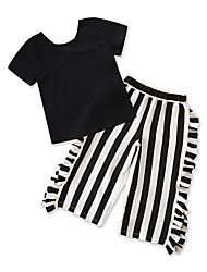 cheap -Baby Girls' Solid Colored / Striped Short Sleeve Clothing Set