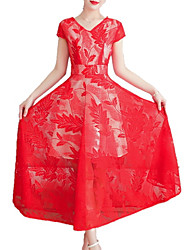 baratos -Mulheres Delgado Evasê Vestido Sólido / Geométrica Decote V Médio