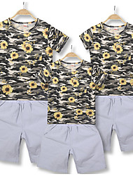 cheap -Family Look Floral Short Sleeve Clothing Set