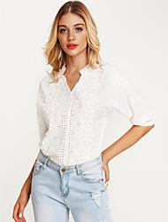 preiswerte -Damen Solide - Schick & Modern Baumwolle Bluse, V-Ausschnitt Lose