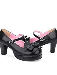abordables -Chaussures Doux / Lolita Classique / Traditionnelle Princesse Talon Bottier Chaussures Couleur Pleine 6.5 cm CM Beige / Marron / Bleu Encre Pour PU