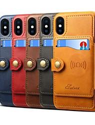 Недорогие -Кейс для Назначение Apple iPhone X / iPhone 8 Бумажник для карт / со стендом Чехол Однотонный Твердый Кожа PU для iPhone X / iPhone 8