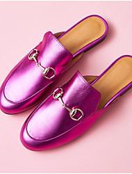 Недорогие -Жен. Обувь Наппа Leather Лето Босоножки Башмаки и босоножки На плоской подошве Круглый носок Черный / Лиловый / Серебряный