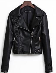 Недорогие -Жен. Кожаные куртки Винтаж - Однотонный