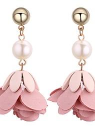 abordables -Femme Perle Boucles d'oreille goutte - Imitation de perle Fleur Doux, Mode Vert / Bleu / Rose Pour Cérémonie / Soirée
