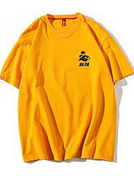baratos -Homens Camiseta Retrato Decote Redondo / Manga Curta
