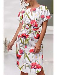 abordables -Femme Sortie Gaine Robe Taille haute Mi-long / Motifs floraux