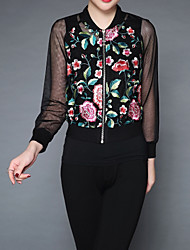 Недорогие -Жен. Куртка Винтаж - Однотонный / Цветочный принт