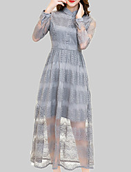 cheap -Women's Swing Dress - Solid Colored / Striped Lace / Cut Out / Patchwork