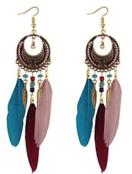 cheap -Women's Long Drop Earrings - Vintage, Ethnic, Fashion Black / Rainbow / Blue For Party / Evening / Going out
