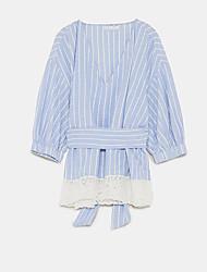 billige -Dame Skjorte Kjole - Stribet Knælang