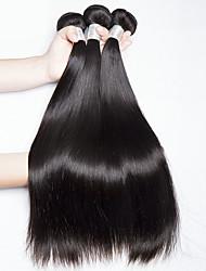 Недорогие -3 Связки Малазийские волосы Прямой Натуральные волосы Человека ткет Волосы / Удлинитель 8-28 дюймовый Естественный цвет Ткет человеческих волос Машинное плетение