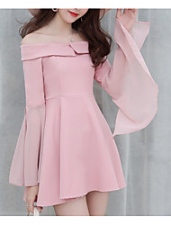 cheap -Women's Going out Basic / Street chic Cotton Slim Romper - Solid Colored, Backless / Ruffle Wide Leg Strapless / Off Shoulder / Boat Neck