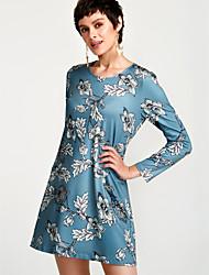 cheap -Women's Silk Swing Dress - Floral High Waist / Fall / Floral Patterns