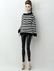 baratos -Corpos separados / Calças Cardigãs e Suéteres Para Boneca Barbie Branco / Preto Têxtil / Couro Ecológico / Lã artificial Blusa / Calças Para Menina de Boneca de Brinquedo