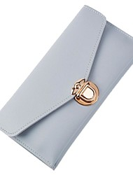 baratos -Mulheres Bolsas PU Carteiras Botões Cinzento / Roxo / Azul Céu