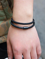 cheap -Men's Wrap Bracelet / Magnetic Bracelet - Leather Simple, Korean, Fashion Bracelet Black / Coffee For Gift / Daily