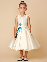 cheap -A-Line Tea Length Flower Girl Dress - Satin Sleeveless V Neck with Appliques / Bow(s) / Sash / Ribbon by LAN TING BRIDE®