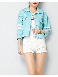 cheap -Women's Basic Denim Jacket - Solid Colored, Pleated