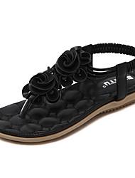 お買い得  -女性用 靴 PUレザー 夏 コンフォートシューズ サンダル フラットヒール ブラック / アーモンド