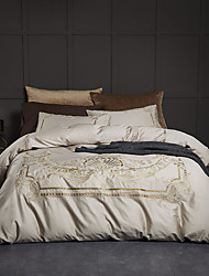 cheap -Duvet Cover Sets Luxury / Contemporary 100% Cotton / 100% Egyptian Cotton Embroidery 4 Piece
