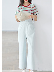 povoljno -ženske pamučne kombinezonne hlače - čvrste boje