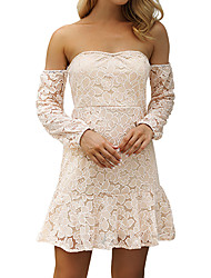 cheap -Women's Street chic / Sophisticated Sheath Dress - Solid Colored Lace / Ruffle