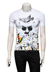 baratos -Homens Tamanhos Grandes Camiseta Retrato Algodão Decote Redondo / Por favor, sempre escolha um número maior que o seu número normal.