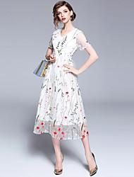 お買い得  -女性用 ヴィンテージ / モダンシティ Aライン ドレス - 刺繍, フラワー ミディ