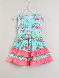cheap -Baby Girls' Flamingos Print Sleeveless Dress
