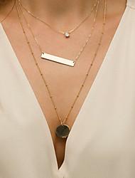 preiswerte -Damen Kristall Halsketten / Anhängerketten / Ketten - Einfach, Retro, Modisch Cool, lieblich Gold 40 cm Modische Halsketten Schmuck 3 Stück Für Festtage, Bar / Layered Ketten