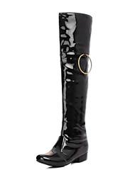 preiswerte -Damen Schuhe Lackleder Herbst Winter Modische Stiefel Stiefel Blockabsatz Spitze Zehe Kniehohe Stiefel Weiß / Schwarz / Rot / Party & Festivität