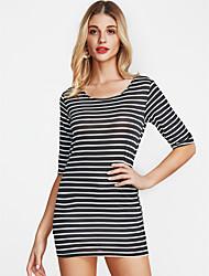 cheap -Women's Basic Cotton Sheath Dress - Striped White, Print Mini / Fall
