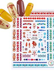 baratos -3 pcs Adesivos arte de unha Manicure e pedicure Colorido Decalques de unha Casamento / Festa / Dia a Dia