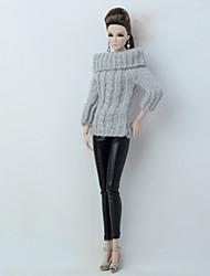 baratos -Corpos separados / Calças Cardigãs e Suéteres Para Boneca Barbie Preto+Cinza Têxtil / Couro Ecológico / Lã artificial Blusa / Calças Para Menina de Boneca de Brinquedo