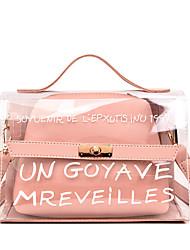 baratos -Mulheres Bolsas PVC / PU Conjuntos de saco 2 Pcs Purse Set Botões / Ziper Preto / Rosa / Amarelo