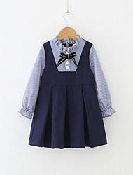cheap -Toddler Girls' Blue & White Striped Long Sleeve Dress