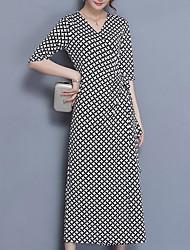 Недорогие -Жен. Уличный стиль / Изысканный Прямое Платье - Гусиная лапка, С разрезами Средней длины