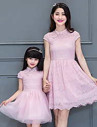 cheap -Mommy and Me Solid Colored Short Sleeve Dress