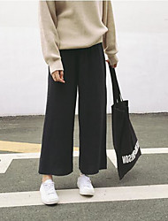 cheap -Women's Active Wide Leg Pants - Solid Colored Black & White, Tassel