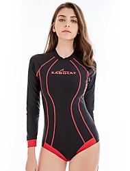 baratos -SABOLAY Mulheres Segunda-pele para Mergulho SPF50, Esticar, Proteção Solar Poliéster / Elastano Manga Longa Roupa de Banho Roupa de Praia Body Retalhos Zip posteriore Natação / Mergulho / Snorkeling